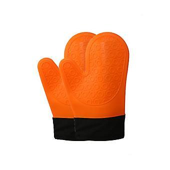 2pcs silikon ovn votter dobbel tykk oransje