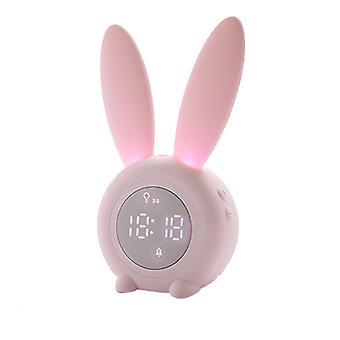 Lumière de nuit chronométrée magnétique avec le réveil mignon de capteur de son lapin forme de lapin charge USB