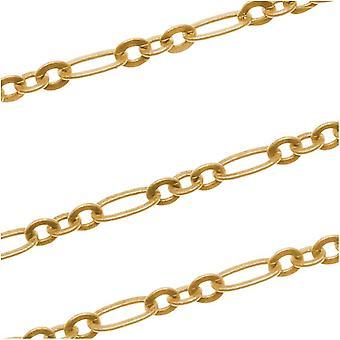 22K الذهب مطلي سلسلة فيغارو، 2.5mm، من القدم