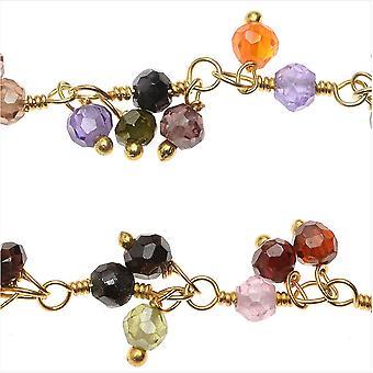 Catena di pietre preziose avvolta in filo, gocce sfaccettate micro multicolore da 3 mm, Vermeil d'oro del pollice