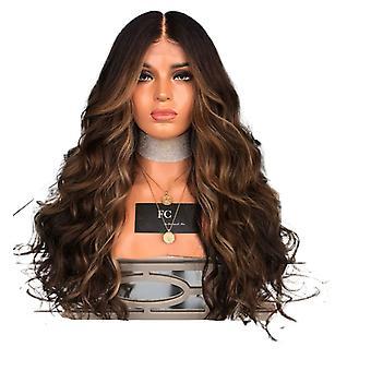 Women wig medium large wave long curly hair black gradient color headgear w373