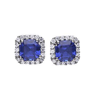 Diamonfire Womens 925 Sterling Silver Rhodium, Palladium &Platinum Plated Sapphire Blue Cubic Zirconia Square Stone with Pave Clear Stone Surround Stud Earrings