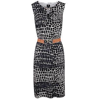 K-design Navy Blue & White Print Sleeveless Closed V-neck Dress With Belt