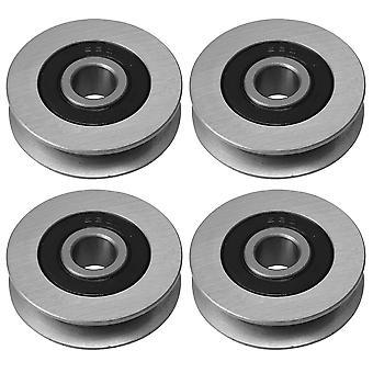 4x industriel U-Shape Groove Wheel Bearing Steel Bearing Cable Pulley