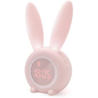 Cute Rabbit-shaped Induction Morning Alarm Clock, Automatic Time/date/temperature Display, Green