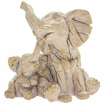 Elephant and Baby Figurine Driftwood Resin Animal Ornament