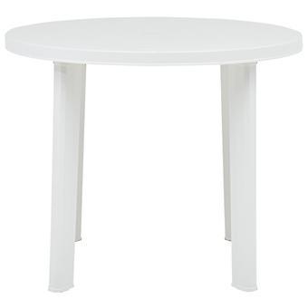 vidaXL Puutarhapöytä Valkoinen 89 cm Muovi