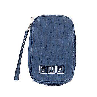 Blue cable organizer bag electronic accessories storage case for usb and charger cai801