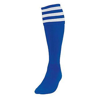 Präzision 3 Streifen Fußball Socken Jungen Royal/Weiß