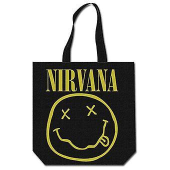 Nirvana - Hymiö puuvilla laukku