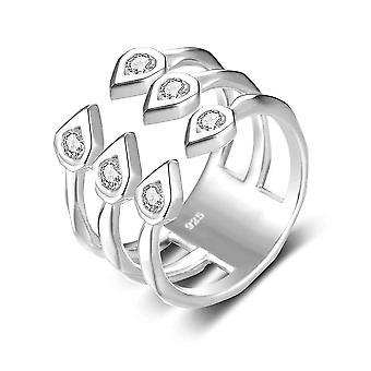 Sterling Silber Ring Zirkonia glänzende Hochzeit Verlobung