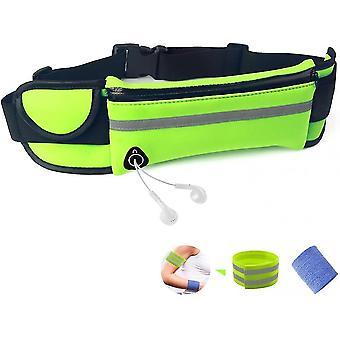 Cinturón de running Bum Bolsa impermeable flip belt ajustable para hombres deportes al aire libre de las mujeres (verde)