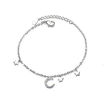 2PCS נחושת ירח כוכב צמיד לנשים זוג יצירתי פשוט ציצית גיאומטרית תכשיטים