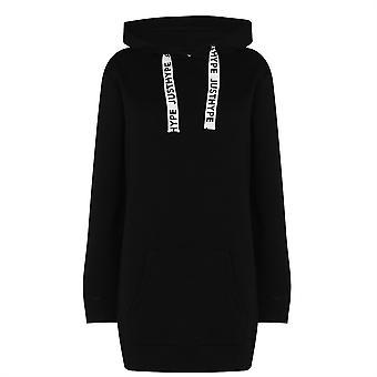 Hype Womens Black Drawcord Hoodie Dress Canguro Pockets OTH Hoody Top