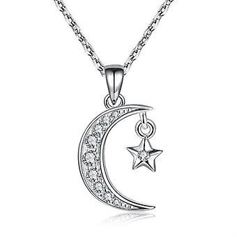 925 Sterling Silver Crescent Moon Star Necklace - 18 inch