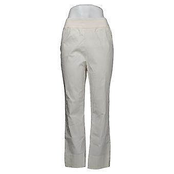 MarlaWynne Women's Pants Twill FLATTERfit With Slit Ivory 646478