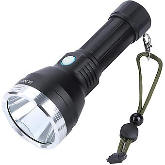 USB Electric Torch-IPX5 Portable Aluminum Alloy Flashlight USB Rechargeable Electric Torch for Camping Hiking,(black)