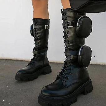 Frauen Knie hoch Reiten Kampfstiefel, Schnürung mit seitlichem Reißverschluss (37) (Schwarz)