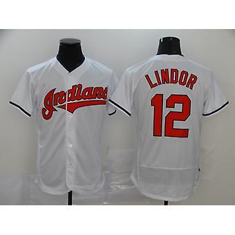 Men's Baseball Jersey Indians #12 Francisco Lindor Player Jersey 90s Hip Hop Game Fans Sports Baseball Uniforms T-shirt Size S-xxxl