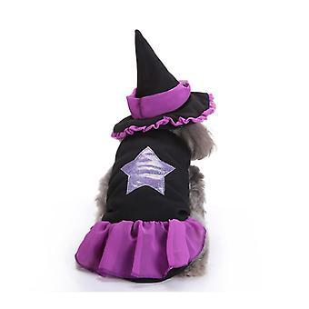 Hund Katze Halloween Hexe Kostüm, Haustier Cosplay Kostüme, Welpe Warme Outfits Fleece