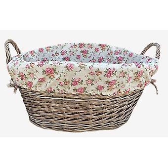 Antik-Wash Finish ausgekleidet Wash Korb mit Futter Garten-Rose