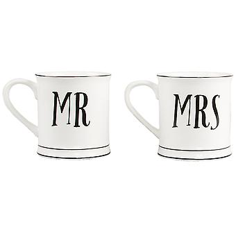 Sass & Belle Mr & Mrs Contemporary Mugs