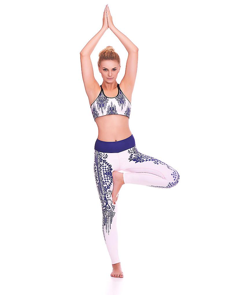 Mio Active Long Creme Indigo Tribal Yoga Leggings MS16S5L OdouBt