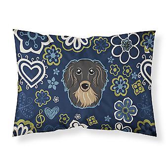 Blue Flowers Longhair Black and Tan Dachshund Fabric Standard Pillowcase