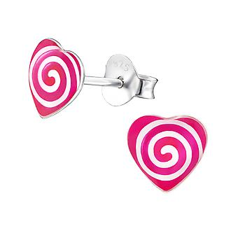 Spiraling Heart - 925 Sterling Silver Colourful Ear Studs - W31717X