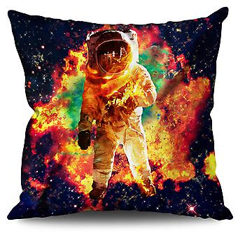 Astronaut Galaxy Space Linen Cushion 30cm x 30cm | Wellcoda