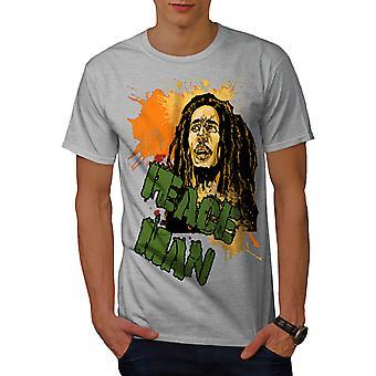 Bob Marley Peace Rasta Men GreyT-shirt | Wellcoda