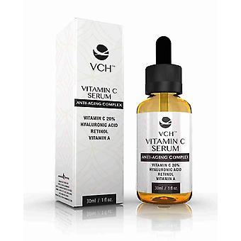 VCH 20% Vitamin C Serum med hyaluronsyra, Retinol och a-Vitamin - 1 flaska (30ml) - Vitamin C Anti-Aging Serum - Evolution bantning