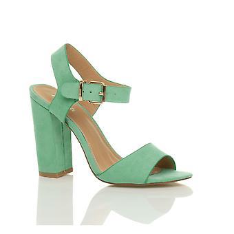 Ajvani kvinnors höga block hälen ankel rem spänne peep toe skor sandaler