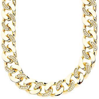 Iced out bling hjalp mikro bane bremse kæde - CUBANSKE 15 mm guld