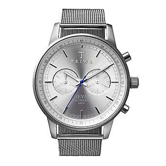 Triwa unisex watch Chrono NEST101 ME021212 Stirling steel Nevil Mesh Bracelet Watch