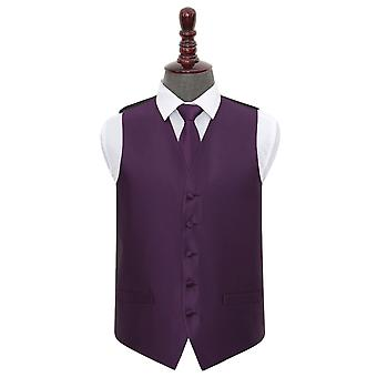 Cadbury Purple Solid Check Wedding Waistcoat & Conjunto de empates