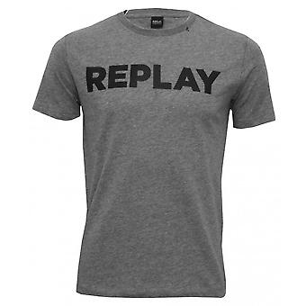 Replay vet Logo Crew-Neck T-Shirt, grijs Melange
