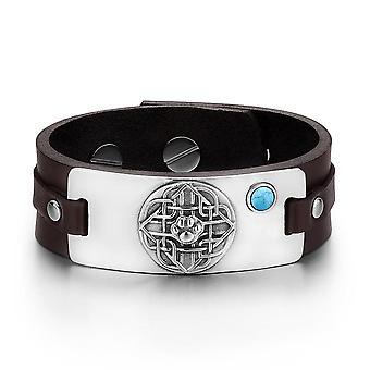 Wolf Pfote keltischer Schild Knoten magische Amulett simuliert Türkis einstellbare dunkelbraunes Lederarmband