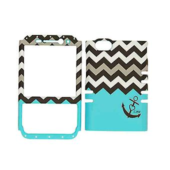 Rocker Series Snap-On Protector Case for BlackBerry Q5 (Black Anchor/Black and White Chevron on Blue)