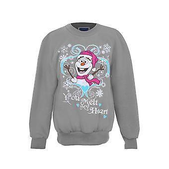 Meisjes XMAS Feestelijke Christmas Snowman Olaf Bevroren Kinderen Fleece Lined Jumper