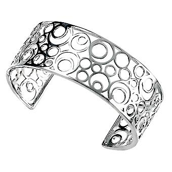 Elements Silver Circles Openwork Cuff Bangle - Silver