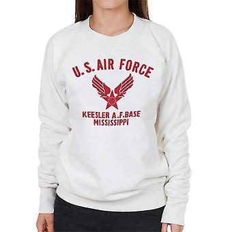 US Airforce Keesler AF Base Mississippi Red Text Women's Sweatshirt