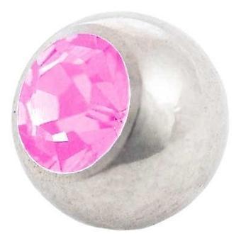 Piercing udskiftning bold, Pink sten | 1,2 x 3 og 4 mm, krop smykker