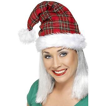 Smiffy ' s tartan Santa hat