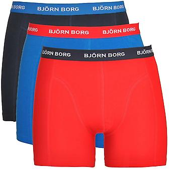 Bjorn Borg 3 Pack Contrast Solid Essential Shorts, Blue / Red / Navy, X-Large