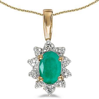 LXR 10k Geelgoud Ovaal Smaragd en Diamanten Hanger 0.31 ct