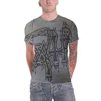 Death T Shirt Band Logo Jumbo dye sub black overdye new Official Mens Charcoal