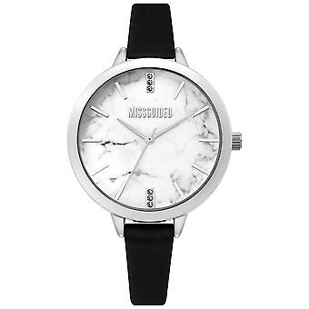 Missguided | Ladies Black Leather | White Marble Dial | MG011BS Watch