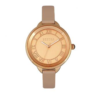 Bertha Madison Sunray cadran-bracelet en cuir montre - Light Rose/Rose Gold
