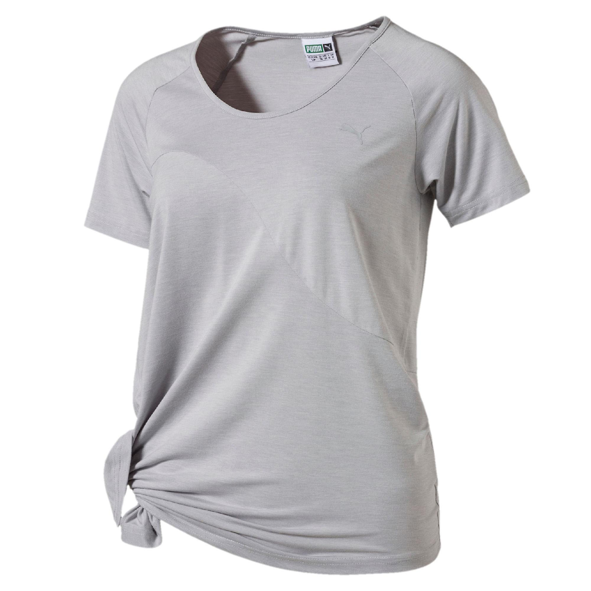 Puma Evo Side Knot Womens Ladies Fitness T-Shirt Tee Grey